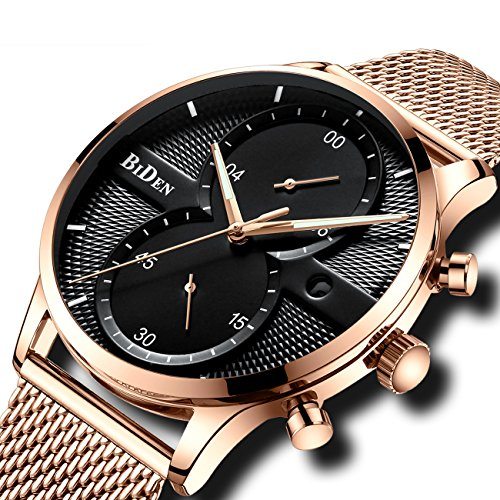 08ff11a72b9 Mens Chronograph Watches Men Waterproof Luxury Dress Fashion Date Calendar  Stainless Steel Mesh Watch Gents Multifunctional Casual Unique Designer  Analogue ...