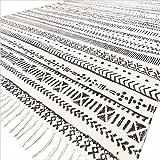Eyes of India - 4 X 6 ft Weiß Schwarz Baumwolle Block Druckfläche Akzent Dhurrie Teppich Flach zu Weben Gewebt Boho Unkonventionell - Schwarz, 120 x 180 cm