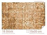 GRAZDesign Wandfliesen selbstklebend glänzende Folie - Fliesenfolie Bad Mosaikmuster - Fliesentattoo Küche braune Töne - Fliesenaufkleber Küche Shabby Chic / 15x20cm (BxH) / 766067_15x20_60