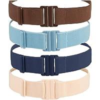 Adjustable Stretch Elastic Belt Women - No Show Flat Buckle Ladies Belts - Non- Slip Backing   Black Belts for Women