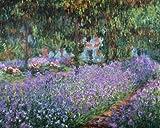 Acrylglasbild Claude Monet - Blühende Iris in Monets Garten - 50 x 62.5cm - Premiumqualität - Impressionismus, Seerosen, Wasserpflanzen, Teich, Natur, Brücke, Spiegelung.. - MADE IN GERMANY - ART-GALERIE-SHOPde