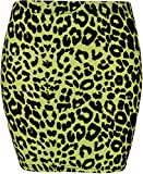 NEU DAMEN AUFDRUCK STRETCH BODYCON SCHOTTENKARO KURZ MINI BLEISTIFTRÖCKE UK 8-20 - GELB LEOPARD, UK 12-14