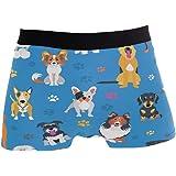 ZZKKO Dog Paw Print Mens Boxer Briefs Underwear Breathable Stretch Boxer Trunk with Pouch S-XL