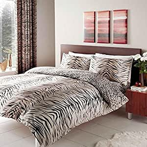 Gaveno Cavalia Luxury TIGER SKIN Duvet Set With Duvet Cover and Pillow Case Brown King