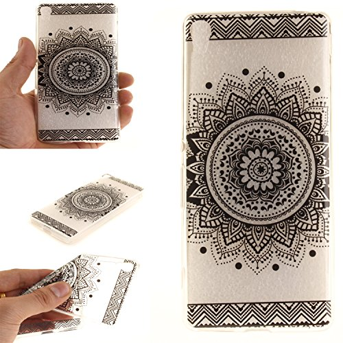 For Sony Xperia XA Case Cover, Ecoway TPU Clear Soft Silicone Back Colorful Hollow Floral Printed Pattern Silicone Case Protective Cover Cell Phone Case for Sony Xperia XA - Black mandala