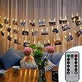 Skitic LED Foto Clips Lichterketten, 2.5M Fernbedienung Batteriebetriebene Dimmbare Foto-Display Starry Lampe Stimmungsbeleuchtung 20 Photo Clips für Weihnachten Dekoration