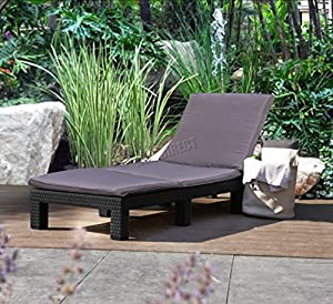 FoxHunter Rattan Day Chair Recliner Sun Bed Lounger Wicker Outdoor Garden Furniture Terrace Patio Grey SRL02 from KMS