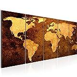 Bilder Weltkarte World Map Wandbild 200 x 80 cm Vlies - Leinwand Bild XXL Format Wandbilder Wohnzimmer Wohnung Deko Kunstdrucke Braun 5 Teilig -100% MADE IN GERMANY - Fertig zum Aufhängen 101755a