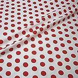 Stoff Baumwolle Punkte groß weiß rot Tupfen Dots