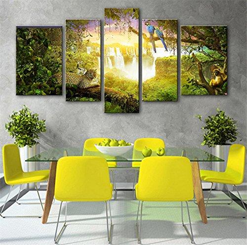 5-pcs-peinture-crative-continental-fort-waterfall-animal-dcoratif-giclee-toiles-frameless-peintures-