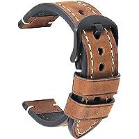 Bracelet Montre Noire Cuir Crazy Horse Men's Bracelet Classic Vintage Remplacement Panerai Bande Montre Applicable…