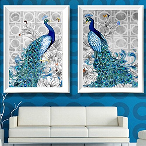 LanLan Home Decoration Blue Peacock Pictures Diamond Mosaic Needlework Cross Stitch Kits Canvas Paintings Pack of 2 40*50CM 5D Diamond Embroidery DIY