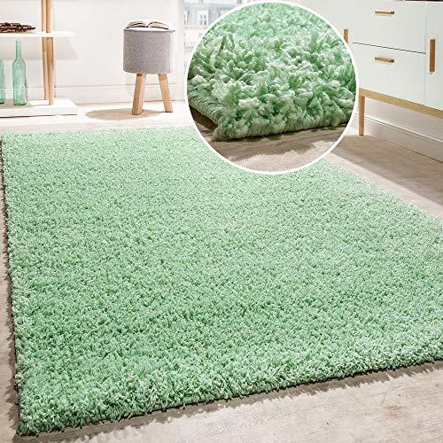 Alfombra Shaggy De Pelo Alto Y Largo Largo Menta Verde LIQIDACION, tamaño:60x100 cm