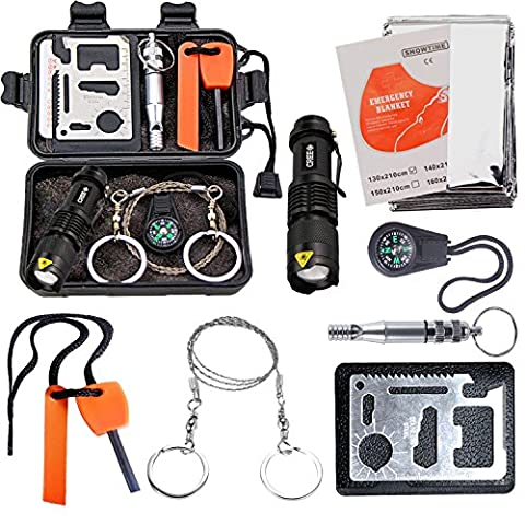 Survival Kit CEEBON Outdoor Emergency Tool Kit for Camping Hiking Fishing Travelling or Adventures (Pack of 8 Pieces) (Black)