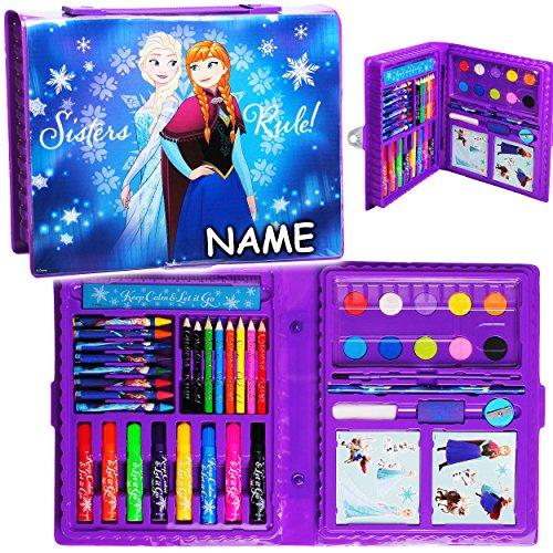 52 tlg. Set __ XL Stifte-Koffer - ' Disney die Eiskönigin - Frozen ' - incl. Name - Malkoffer mit...