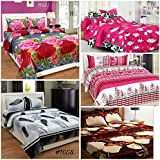RS Home Furnishing 120 TC Cotton 5 Double Bedsheet With 10 Pillow Covers - Floral, Multi Color
