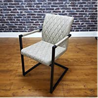 db2b8c0d3150 ModaNuvo Retro Vintage Taupe Leather Metal Frame Cantilever Industrial  Dining Carver Arm Chair