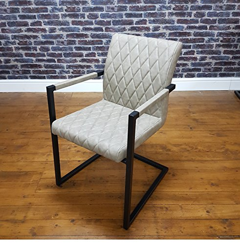 ModaNuvo Retro Vintage Taupe Leather Metal Frame Cantilever for sale  Delivered anywhere in Ireland