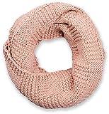 styleBREAKER Strick Loop Schal mit Patentmuster, Uni Feinstrick Schlauchschal, Winter Strickschal, Unisex 01018152, Farbe:Altrose