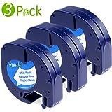 Fimax kompatibel Kunststoff Etikettenband (Modell S0721660 91221 91201) für Dymo LetraTag LT QX50 XR LT-100H LT-100T XR XM 2000 / schwarz auf weiß / 12mm x 4m / 3er Packung
