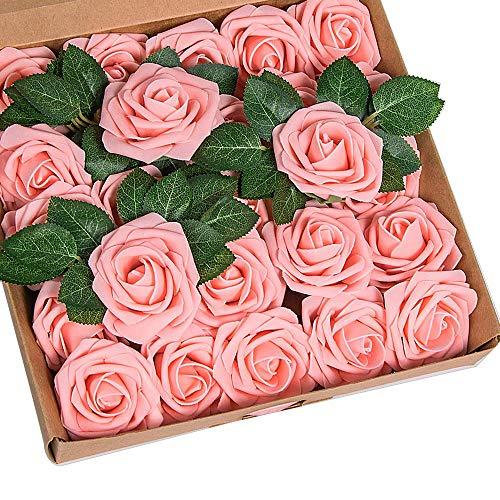 Künstliche 25 Stück Rosen Blumen Schaumrosen Foamrosen Kunstblumen Rosenköpfe Gefälschte Kunstrose Rose für Hochzeit Blumensträuße Braut Zuhause Dekoration (Rosa, 25 Stück)