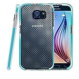 Galaxy S6 Hülle, Fintie [Schlankes Schild Serie] Samsung Galaxy S6 [Ultradünne] Premium Hybrid stoßfeste Schutzhülle Etui Case mit kariertem Muster Rückseite Schale, Blau