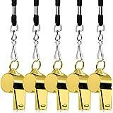 5 Confezioni Fisso in acciaio inox, FineGood Fischio forte di metallo con cordino per arbitri Coaches Lifeguards Sopravvivenz