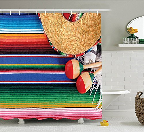 Floral Straw Hat (ajnxcid Mexican Decorations Collection, Mexican Artwork with Sombrero Straw Hat Maracas Serape Blanket Rug Image, Polyester Fabric Bathroom Shower Curtain, 75 inches Long, Green Blue Red Ivory)