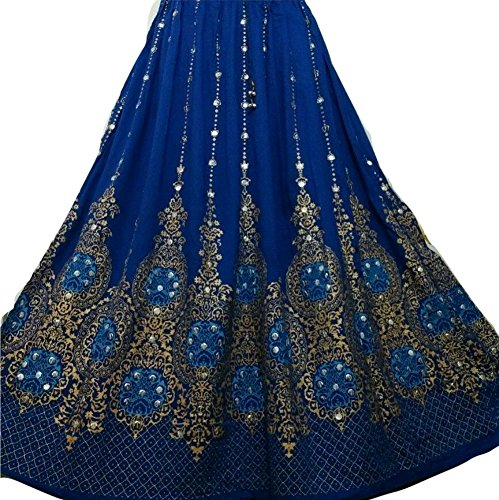 Dancers World Schöner Damenrock, im Boho-Stil, indisch, Hippielook, lang, mit Pailletten, für Bauchtanz geeignet Small Royal Blue Gold with Turq inset (Bewegen Sie Ihn Entlang)