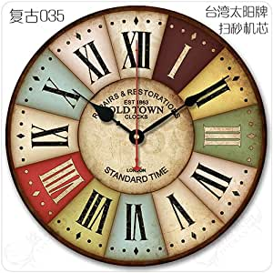 Didadi Wall Clock Continental Idyllic Retro American Living Room Decorated In Minimalist