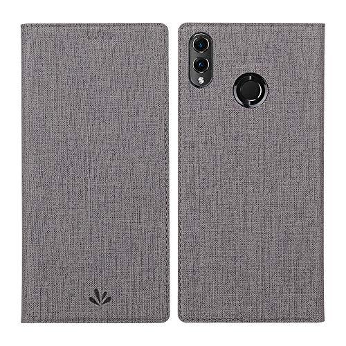Eactcoo Kompatibel Huawei Honor 8X Hülle Dünn Premium PU Leder klappbares Folio Flip Case Book TPU Cover Bumper Tasche Standfunktion Magnetverschluss Kartenfach Wallet Handyhülle (Grau)