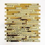 Mosaikfliesen Glasmosaik Fliesen Mosaik Küche Bad WC Wohnbereich Fliesenspiegel Alu - Glas Mix gold 8mm #463