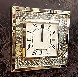 Premierinteriors Schwimmende Kristalle abgeschrägten Spiegel Modern Glas Wanduhr, quadratisch, 50cm Silber 202