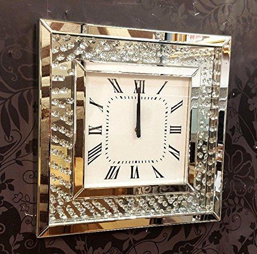 Premierinteriors Schwimmende Kristalle abgeschrägten Spiegel Modern Glas Wanduhr, quadratisch, 50cm Silber 202 -