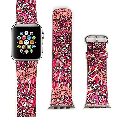 X-cool For Apple Watch ArmBand 38mm mit Metall Schließe Weiches Leder Saison Armband für apple watch (Sommer-42)