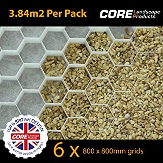COREdrive 6 x CORE Drive 50-30 White (800x800mm) Gravel Stabiliser Grid with attached Membrane FOR DRIVEWAYS