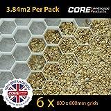 COREdrive 6x Core Drive 50-30Blanc (800x 800mm) Gravier Grille Stabilisateur avec Membrane Fixée pour Les Allées