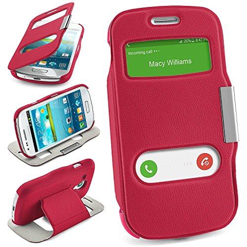 MoEx Samsung Galaxy S3 Mini   Hülle Pink mit Sicht-Fenster Window Cover Schutzhülle Ultra-Slim Handyhülle für Samsung Galaxy S3 Mini S III Case Flip Handy-Tasche Stand-Funktion