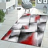Alfombra de diseño moderno para salón, de pelo corto, colores rojo, gris y crema, 160 x 220 cm