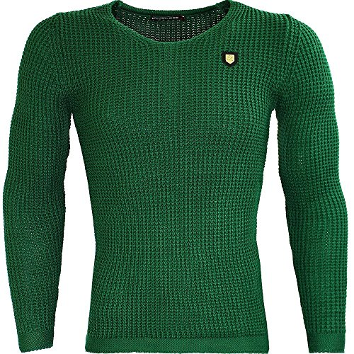 RedBridge by Cipo Baxx Herren Pullover Sweater Mens Shirt Strickpulli Slim Fit Grün