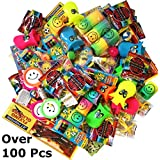 Over 100 Party Bag Fillers Toys Bundle for Kids With 24 Party Bags - Crayons, Bubbles, Bouncy Balls, Stretchy Men, Activity Books, Duck Whistle, Gliders and more for Children - Boys and Girls