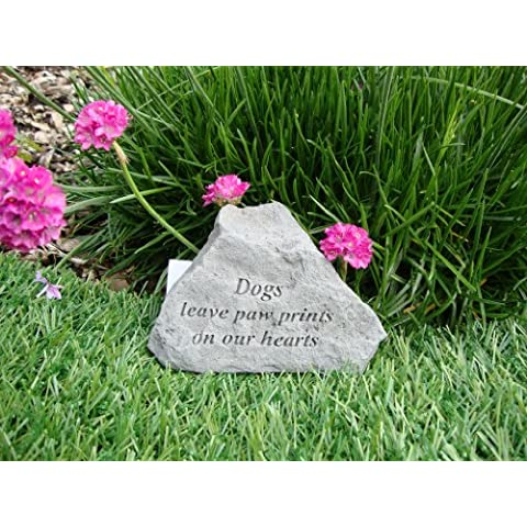 Dogs leave paw prints on hearts-Great Thoughts Garden Accents-Targa commemorativa di Grave
