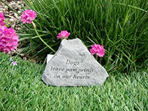 Dogs leave paw prints on hearts- Great Thoughts Garden Accents Graveside Memorial Plaques Grave Marker Ornament