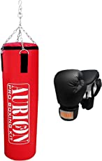 Aurion Strong Punching Bag Unfilled for Boxing MMA Sparring Punching Training Kickboxing Muay Thai with Boxing Glove