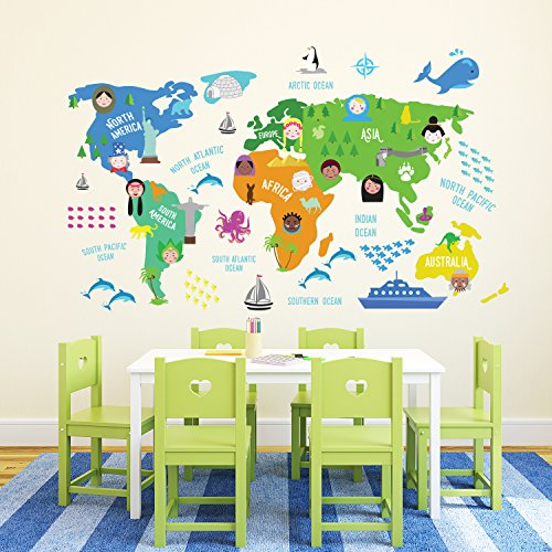 Walplus - Mapa del Mundo educativo de guardería, texto puede no estar en español, Extraíble y autoadhesivo, multicolor, 180x 106cm