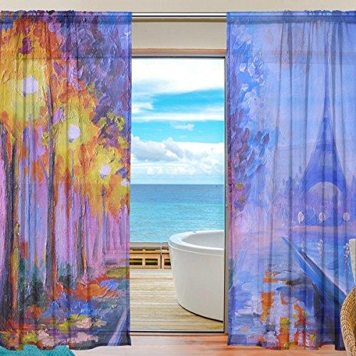 FFY Go Sheer Voile Fenster Vorhang Öl Malerei von Eiffelturm Bedrucktes Weiches Material für Schlafzimmer Wohnzimmer Küche Decor Home Tür Dekoration 2Felder 198,1x 139,7cm (Schiere Öl)