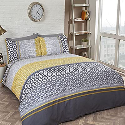 Modern Geometric Bedding Quilt Duvet Cover Set - Grey Ochre Yellow (Double) - cheap UK light store.