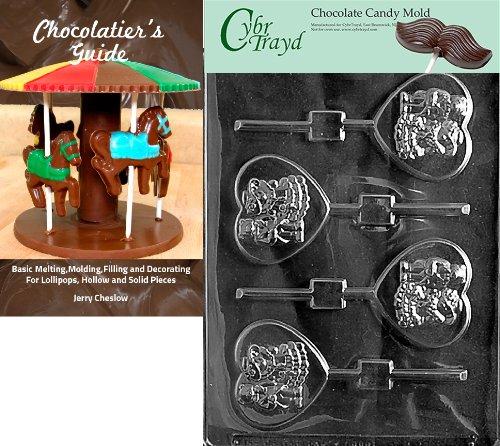 Cybrtrayd W034 Form für Süßigkeiten, Bären auf Herz, mit Cybrtrayd (englischsprachig), mit Anleitung zur Herstellung von Schokolade + Chocolatierbuch farblos