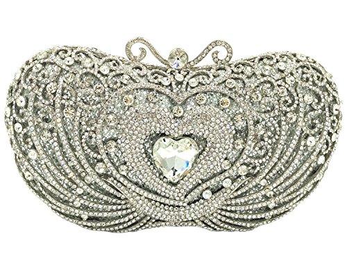Spalla Pochette Donna Sera Borsetta Portafoglio Partito Cerimonia Borsa Sposa Frizioni Eleganti Cuore Verde Silver