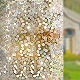 Rabbitgoo No Glue Privacy Window Film Decorative Window Film Static Cling Window Film 90 x 200cm Circles Pattern Glass Film for Home Kitchen Office Bedroom Living Room